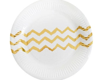 DESSERT PLATES 18cm / Disposable Paper Tableware / GOLD Chevron / Pk 12 / Birthday Party Decorations and Supplies / Wedding / Anniversary
