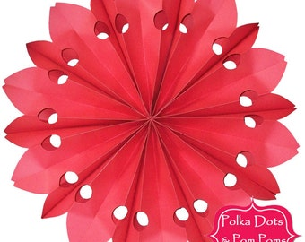 52cm RED PAPER ROSETTE / Fan / Hanging Decoration / Birthday Party Decoration Ideas / Wedding / Baby Shower / Dessert Table Backdrop