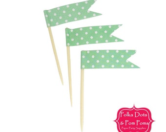24 Mint GREEN Polka Dot CUPCAKE TOPPERS / Food Flags / Birthday Party Decoration Ideas and Supplies / Wedding / Birthday