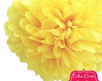 1 x 20cm LEMON Yellow Tissue Paper POM POM / Pompom / Paper Flower / Birthday Party Decoration Ideas / Wedding / Baby Shower