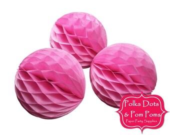 3 x 10cm PINK Tissue Paper Honeycomb Balls / SMALL / Retro Kids Party Supplies / Wedding / Baby Shower