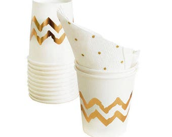 SMALL CUPS 200ml / GOLD Chevron / Pk 12 / Disposable Paper Tableware / Birthday Party Decorations and Supplies / Wedding / Anniversary