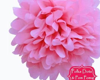 2 x 30cm Baby PINK Tissue Paper POM POM / Pompom / Paper Flower / Retro Kids Party Supplies / Wedding / Baby Shower