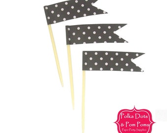 24 BLACK Polka Dot CUPCAKE TOPPERS / Food Flags / Birthday Party Decoration Ideas and Supplies / Wedding / Baby Shower / High Tea