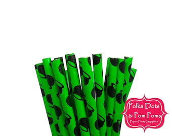 25 Witch Cauldron BLACK Green Paper Drinking Straws / Special Occasion and Themed Party Supplies / Halloween / Grimm / Horror
