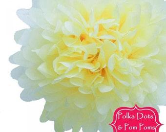 1 x 20cm Pastel LEMON Yellow Tissue Paper POM POM / Pompom / Paper Flower / Retro Kids Party Supplies / Wedding / Baby Shower