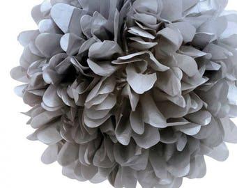 1 x 20cm GREY Gray Tissue Paper POM POM / Pompom / Paper Flower / Retro Kids Party Supplies / Wedding / Baby Shower