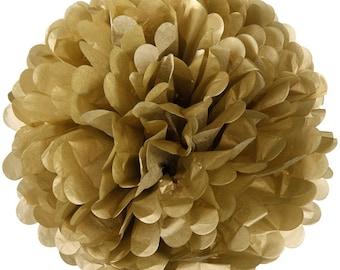 1 x 30cm (12 in) GOLD Tissue Paper POM POM / Pompom / Paper Flower / Birthday Party Decoration Ideas & Supplies / Wedding / Baby Shower