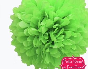 """1 x 35cms (14"""") Lime GREEN Tissue Paper POM POM / Pompom / Birthday Party Decoration Ideas and Supplies / Wedding / Baby Shower"""