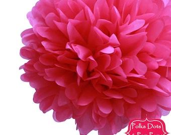 "1 x 50cm (19.5"") Hot PINK Tissue Paper POM POM / Pompom / Birthday Party Decoration Ideas and Supplies / Wedding / Baby Shower"
