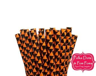25 ORANGE Black Pennant Paper Drinking Straws / Birthday Party Decoration Ideas and Supplies / Halloween