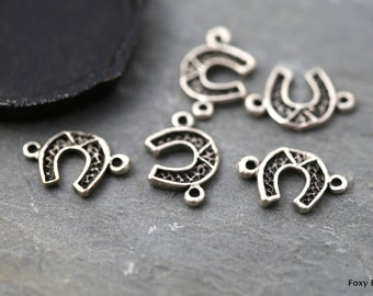 Horseshoe Charm, Bracelet Connector, Lucky Horseshoe, Filigree Horseshoe, Silver Horseshoe Pendant, Good Luck Charms, Charms MISCS008