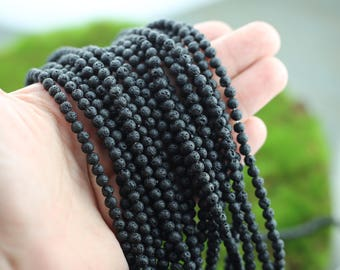 "Black Lava Beads, 4mm, Full Strand, Round Beads, AA Quality, Natural Lava Beads, Gemstone Beads, Natural Stone, 15.7"", Jewelry Supply 94pcs"