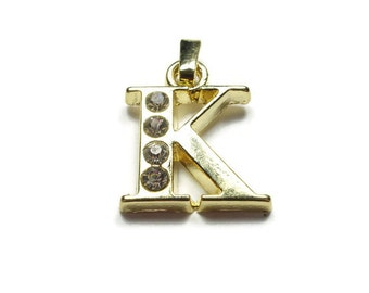 Initial Charm, Letter K - Unique Initial Alphabet Letters, Luster Gold Plated with Rhinestone - MISCG045-K