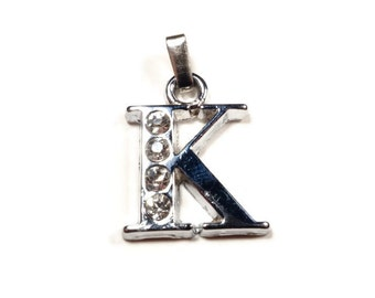 Letter K - Unique Initial Alphabet Letters, Silver Plated with Rhinestone - CMISCS001-K