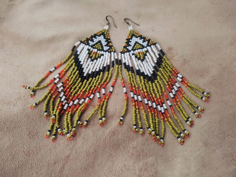 Long Beaded Earrings Native American Fringe Earrings Green Earrings Boho Style Tribal Jewelry For Her Handmade Earrings Geometric Beadwork