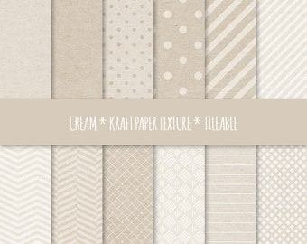 Cream Digital Paper, Geometric Seamless Patterns ~ Kraft Paper Texture Tileable ~ Cardboard Texture Background ~ Dots, Stripes, Chevron