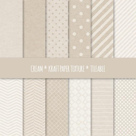 Crema Digital papel, geométricos sin costuras patrones ~ Kraft papel  texturas Enlosables ~ fondo de textura de cartón ~ puntos, rayas, Chevron
