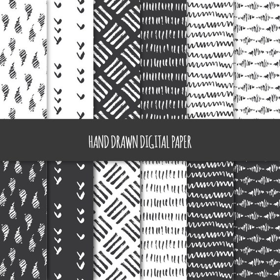Abstract Doodles; Seamless Patterns; Printable Scrapbook Paper; Web /& Print Background; Black and White Hand Drawn Digital Paper Geometric