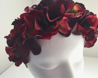 Wine Blossom Hydrangea, Floral Fascinator, Flower Headband