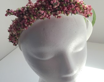 Pink Berry Burst, Floral Fascinator, Flower Headband