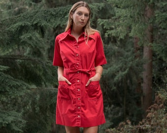 60s Mod Dress, Pointy Collar Button up Dress, Retro 60's Dress with Pockets, Red Scooter Dress, Babydoll Shift Dress, Large