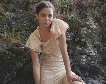 1930's Lace Wedding Dress, Vintage Blush Lace Dress, Flutter Sleeve Sheer Maxi Dress, 30's Wiggle Dress, XS Bohemian Mermaid Dress