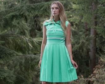 Vintage 60s MOD Dress, Key Lime Striped Drop Waist Pleated Dress, Pointy Collar Psychedelic Twiggy Tennis Dress, Preppy Pleated Mini Dress