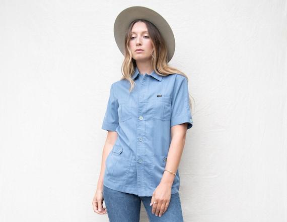 70's Vintage Shirt, Chambray Shirt, Baby Blue WRA… - image 2