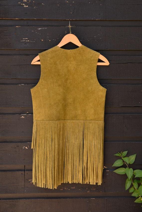 Vintage 70s Suede Fringe Vest |  Suede Leather Ve… - image 9