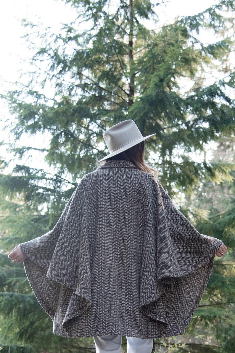 70s 80s Wool Poncho Cape, Central Park International Herringbone Wool Coat Cape, Vintage Batwing Sweater, Boho Long Cardigan Sweater Shawl