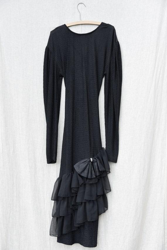 80s Holiday Dress   Black Ribbed Knit Bodycon Bac… - image 7