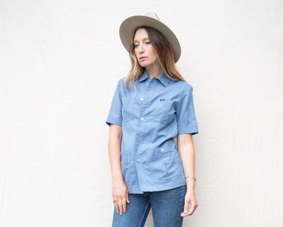 70's Vintage Shirt, Chambray Shirt, Baby Blue WRA… - image 4