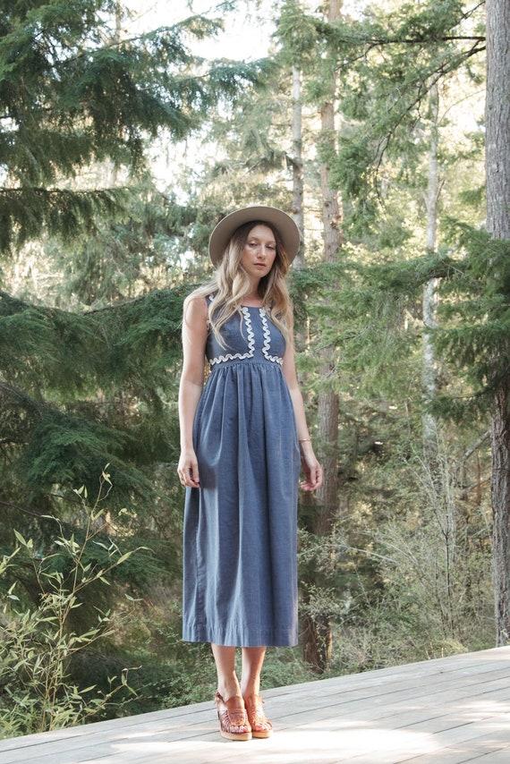 70's Denim Dress | Boho Chambray + Crochet Maxi D… - image 1
