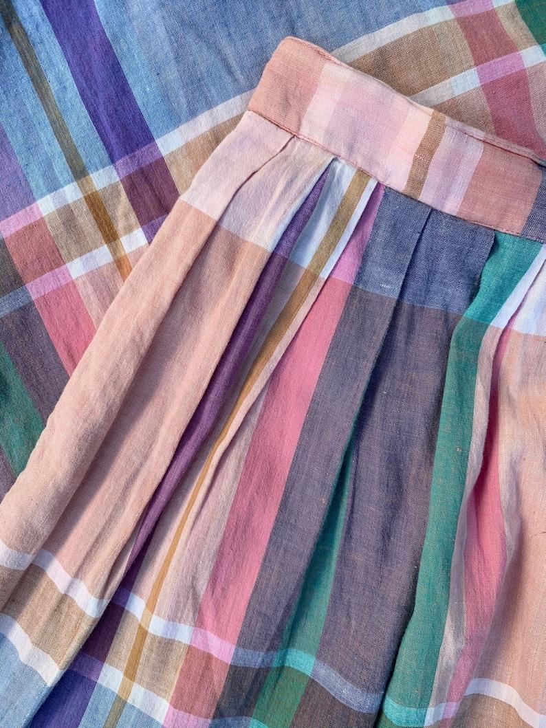 Eddie Bauer Plaid Skirt Pleated Rainbow Pastel Cotton Button Front Midi Skirt with Pockets Boho Prairie Picnic Skirt