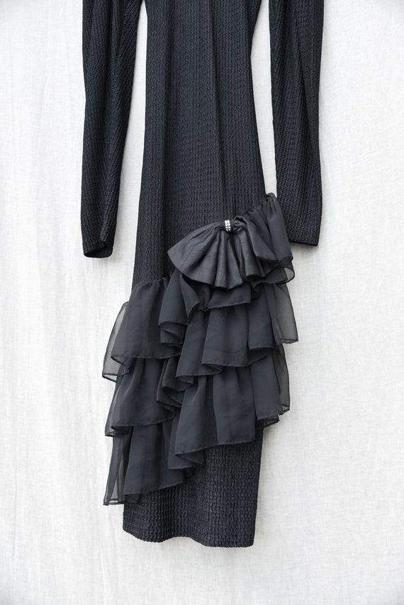 80s Holiday Dress   Black Ribbed Knit Bodycon Bac… - image 8