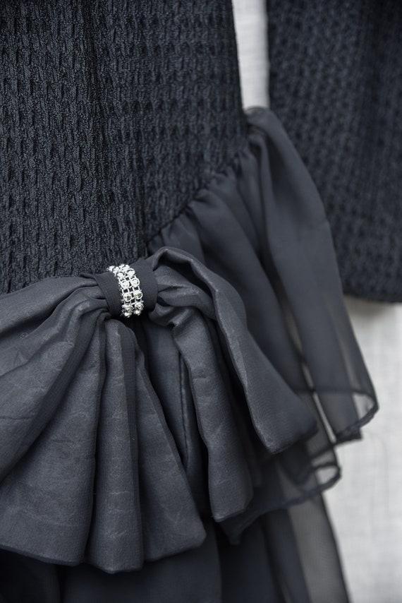 80s Holiday Dress   Black Ribbed Knit Bodycon Bac… - image 9