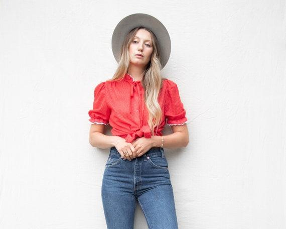 70s Vintage Blouse | Red + White Polka Dot Blouse