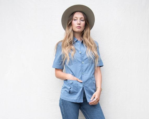 70's Vintage Shirt, Chambray Shirt, Baby Blue WRAN