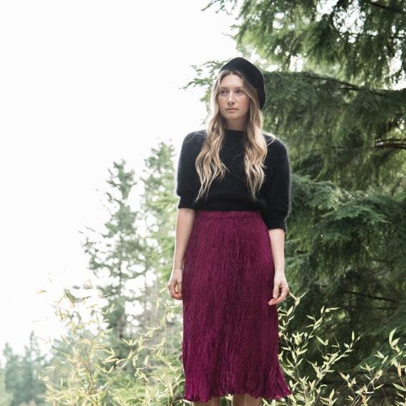 Boho Skirt, Plum Crinkle Skirt, 90's Hippie Skirt,