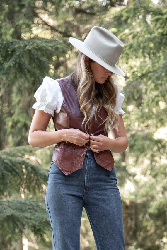 70s Black Sheep Leather Vest, Women's small Leathe