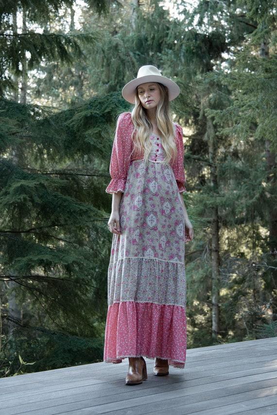 70's Prairie Dress, Vintage Patchwork Maxi Dress,