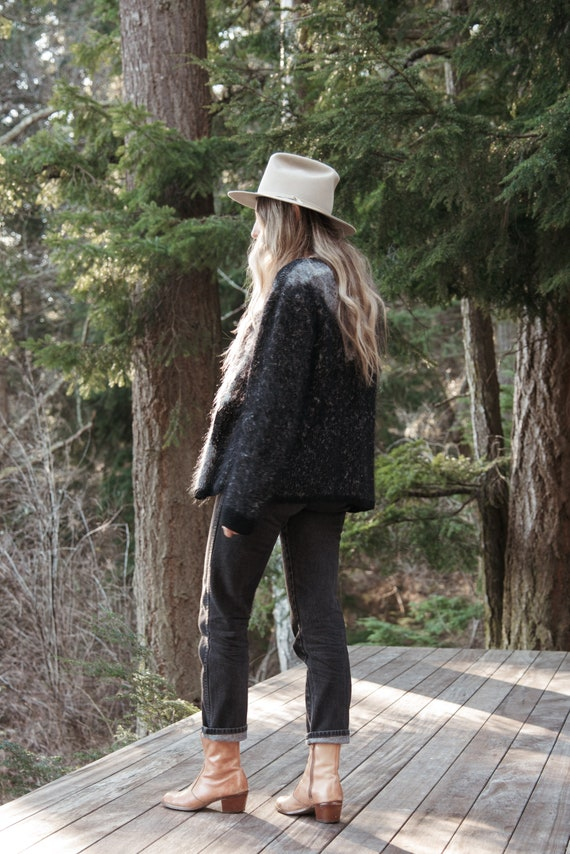 Angora Cardigan Sweater | Black Grey Abstract 80s… - image 3