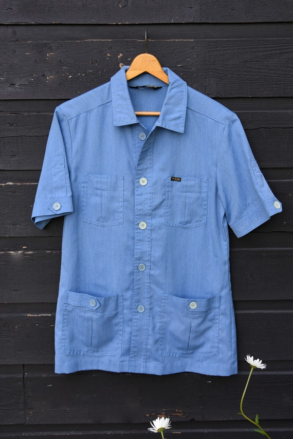 70's Vintage Shirt, Chambray Shirt, Baby Blue WRA… - image 7