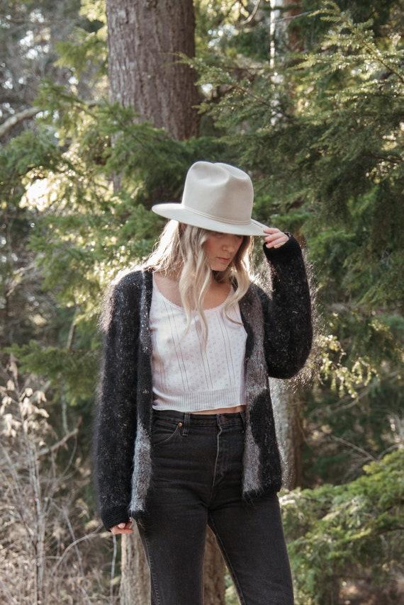 Angora Cardigan Sweater | Black Grey Abstract 80s… - image 4