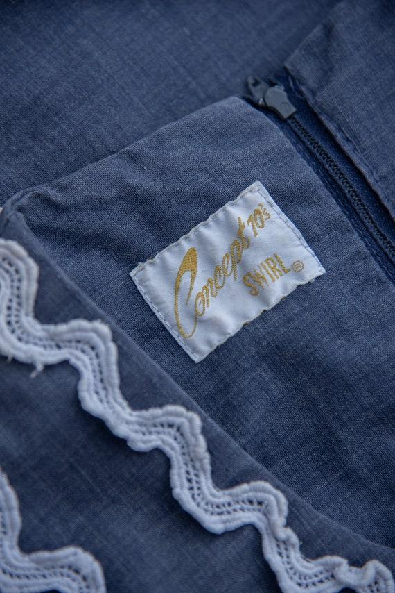 70's Denim Dress | Boho Chambray + Crochet Maxi D… - image 9