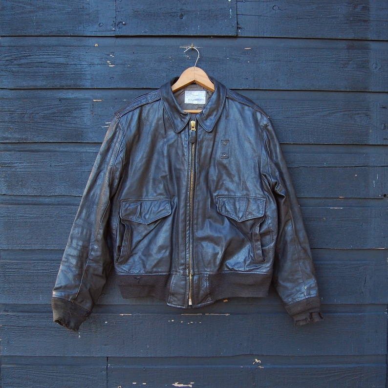 31a0b9adabb06 Skórzana kurtka pilotka 42 mężczyźni brązowe koziej skórzane | Etsy