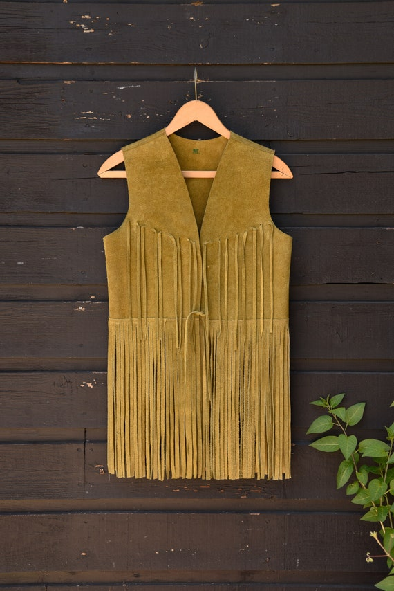 Vintage 70s Suede Fringe Vest |  Suede Leather Ve… - image 8