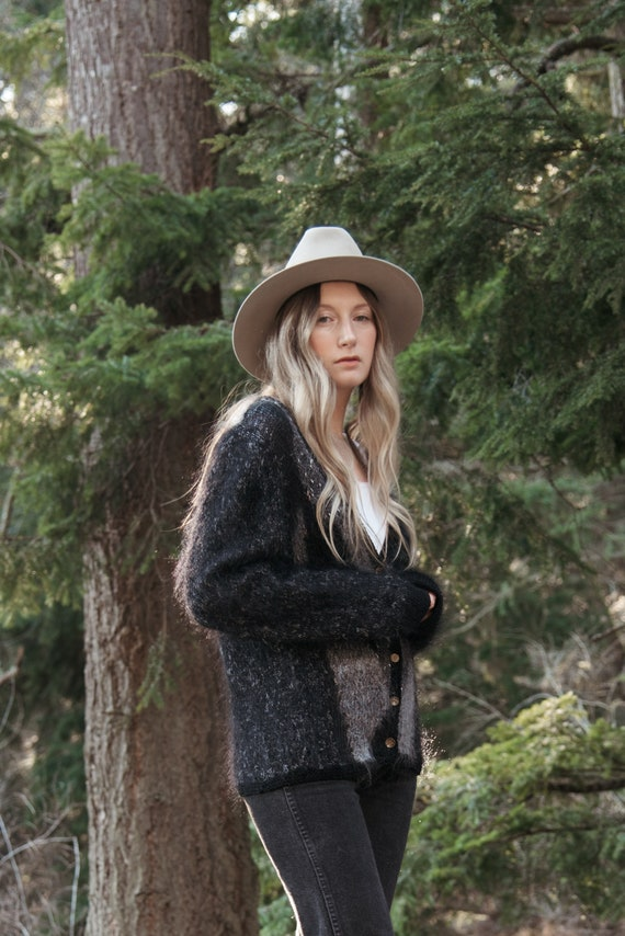 Angora Cardigan Sweater | Black Grey Abstract 80s… - image 2