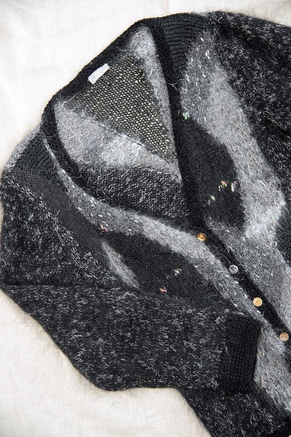Angora Cardigan Sweater | Black Grey Abstract 80s… - image 8